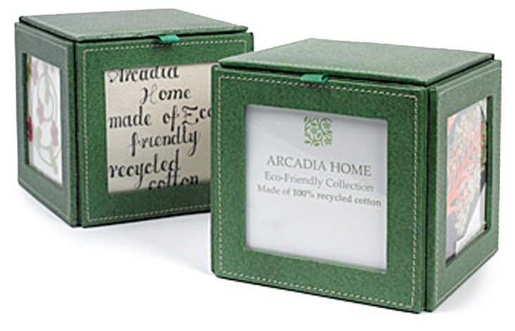 Photo Cube Bookend Set, Moss Green