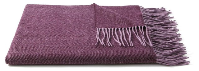 Herringbone Throw, Aubergine