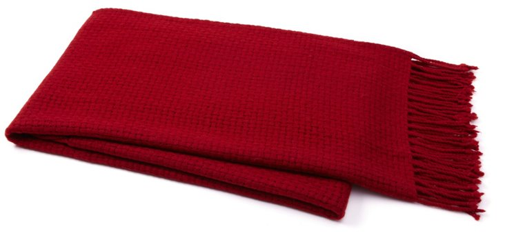Chic Cashmere-Blended Throw, Red