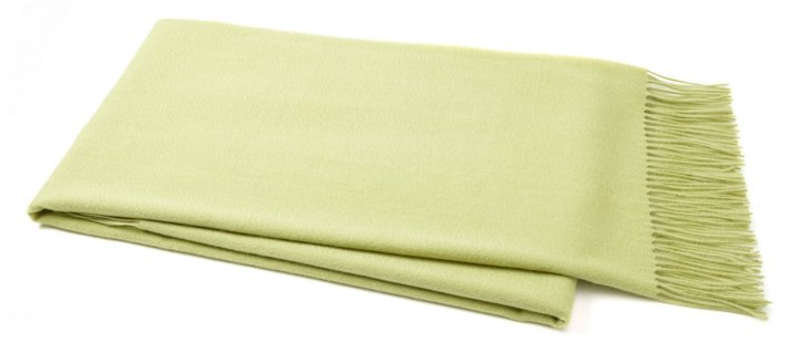 Weave Cashmere-Blended Throw, Celery