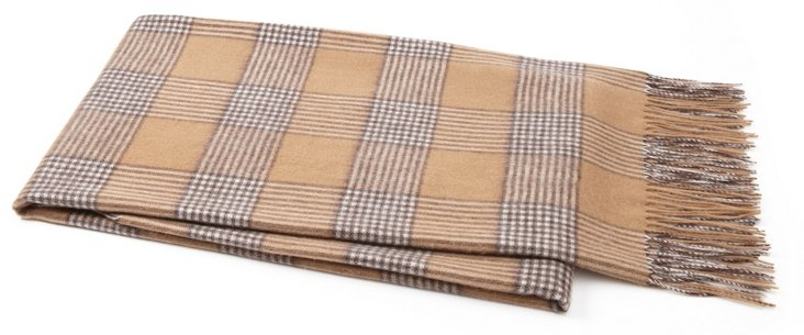 Glen Plaid Throw, Camel/Espresso