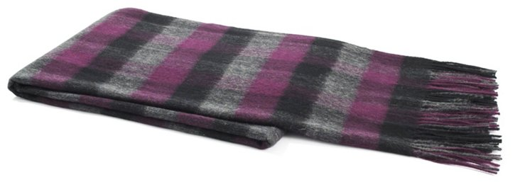 Cashmere-Blend Check Throw, Aubergine
