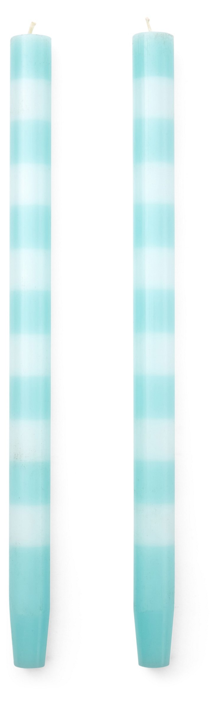 S/4 Taper Candles, Cyan/White
