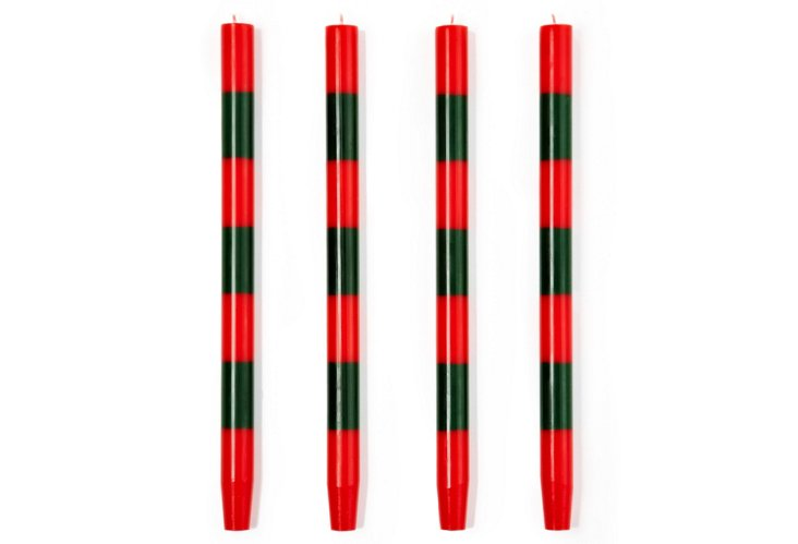 S/4 Thick-Striped Red-Holly Tapers