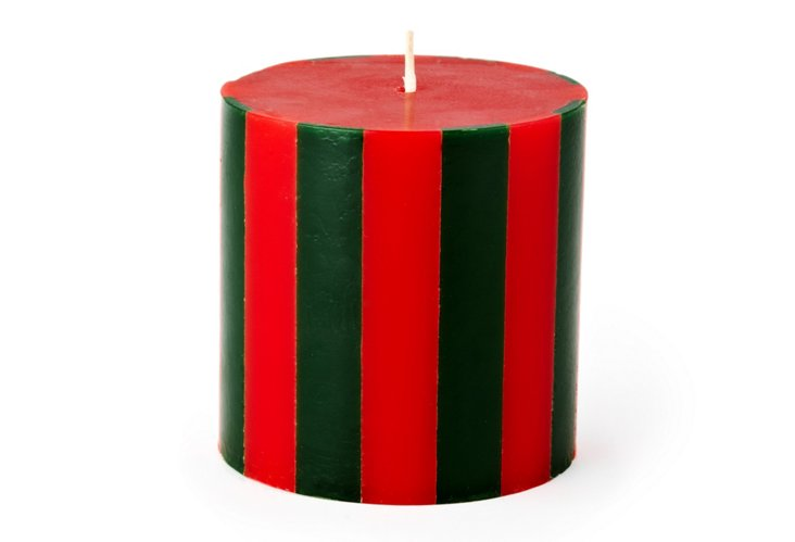 Striped Pillar Candle, Red/Holly