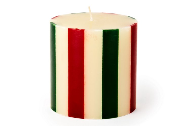 Striped Pillar Candle, Holly/Scarlet