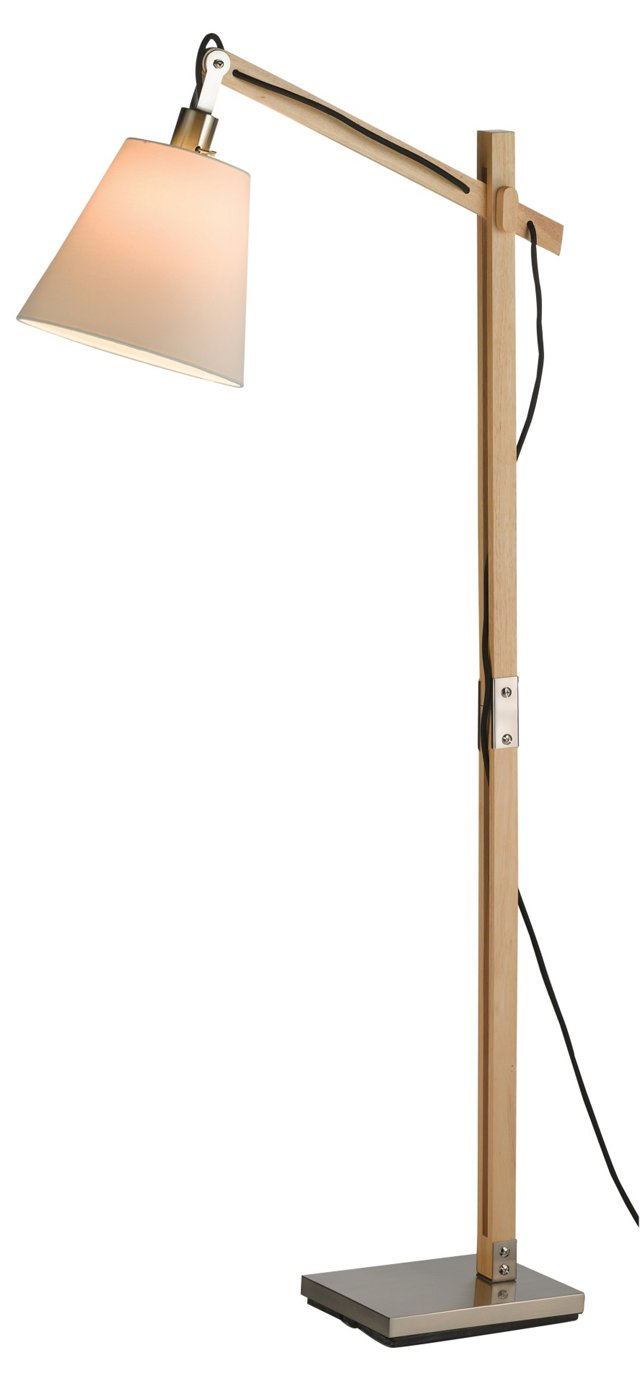 Walden Floor Lamp, Satin Steel/Natural