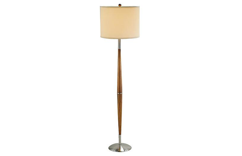 Hudson Floor Lamp, Wood/Steel