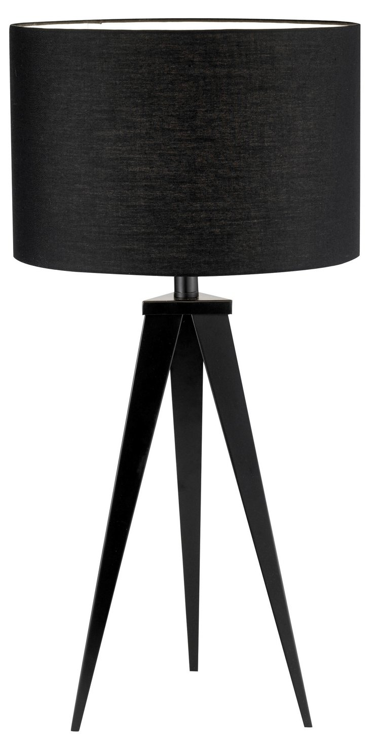Director's Tripod Table Lamp, Black
