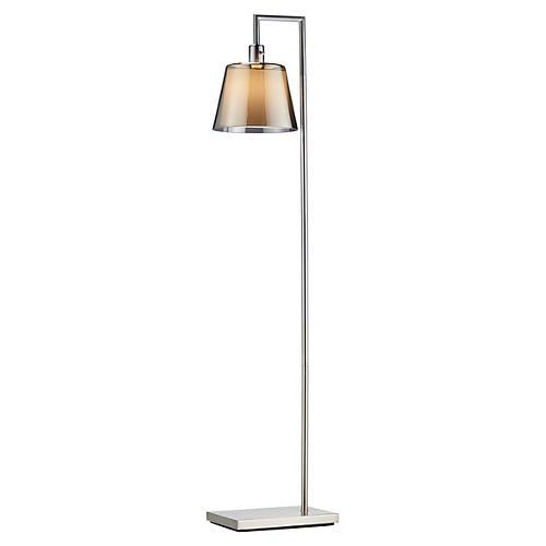 Prescott Floor Lamp, Brushed Steel
