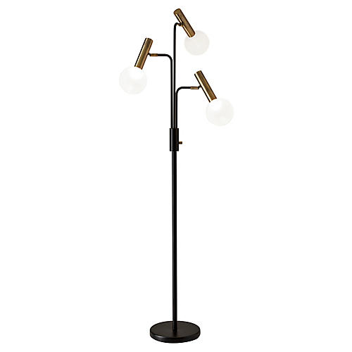 Emery 3-Light Floor Lamp, Antiqued Brass