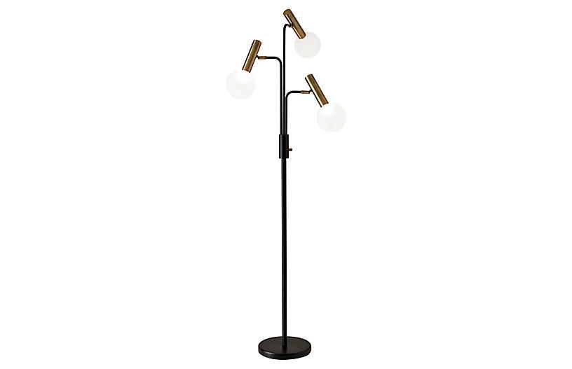 Emery 3-Light Floor Lamp, Antiqued Brass