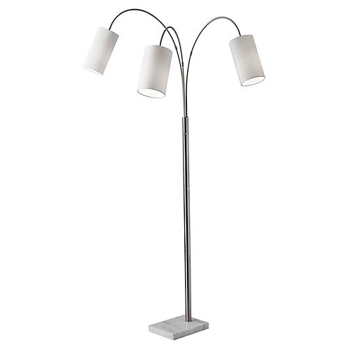 Heather 3-Light Floor Lamp, Brushed Silver
