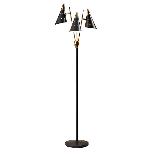 Kedzie 3-Arm Floor Lamp, Matte Black