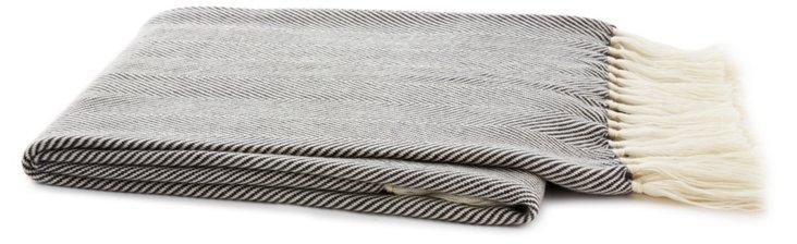 Herringbone Mohair-Blended Throw, Gray
