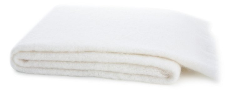 Mohair-Blend Throw, White