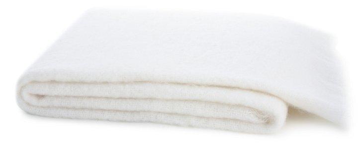 Mohair-Blend Throw, White