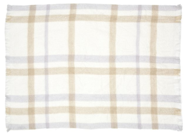 Plaid Mohair-Blended Throw, Multi