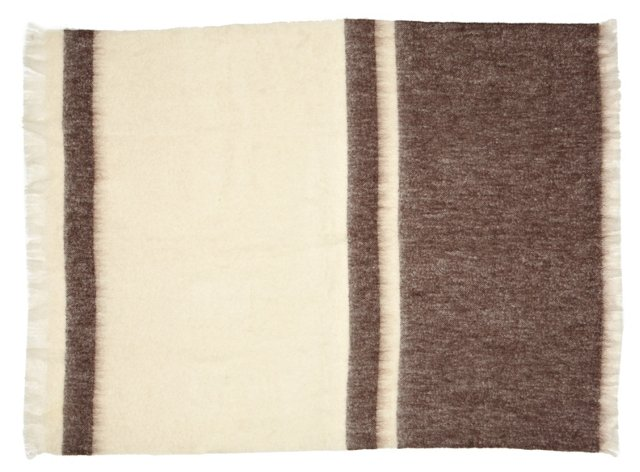 Cozy Mohair-Blended Throw, Cream/Brown