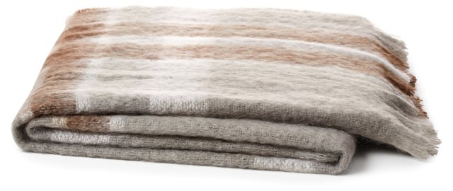 Plaid Mohair-Blend Throw, Brown/Gray