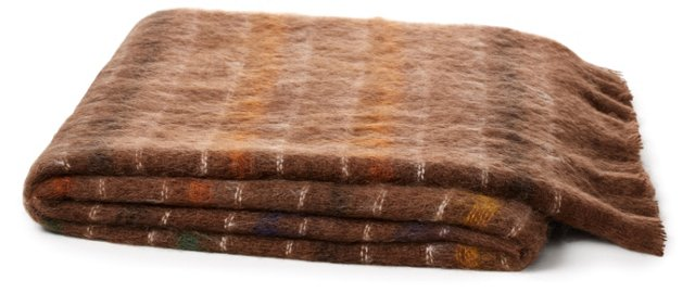 Striped Mohair-Blended Throw, Brown