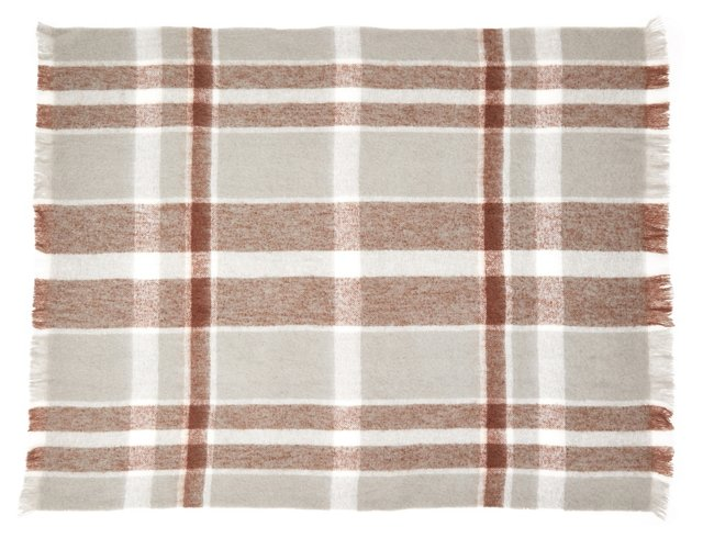 Plaid Mohair-Blended Throw, Neutral