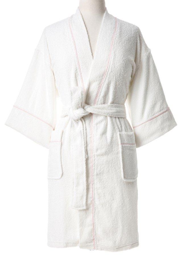 Short Zero Twist Kimono, White/ Pink
