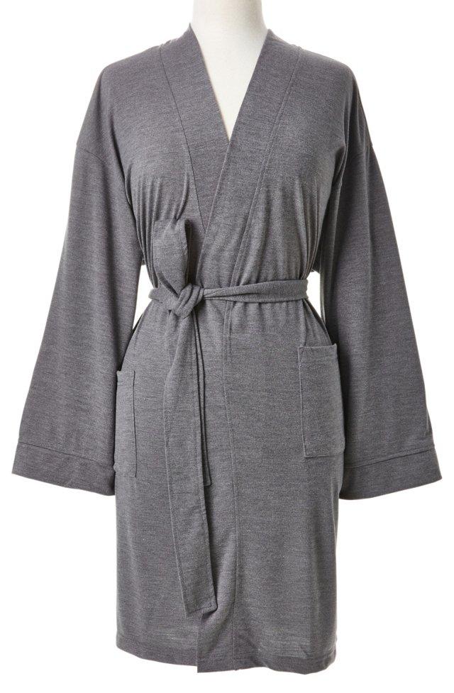 XL Knit Kimono Robe, Charcoal