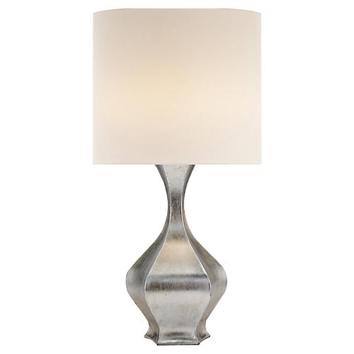 Marseille Accent Table Lamp, Burnished Silver Leaf
