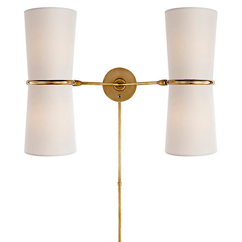 Clarkson Double Sconce, Antiqued Brass