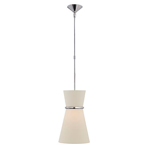 Clarkson Small Single Pendant, Polished Nickel