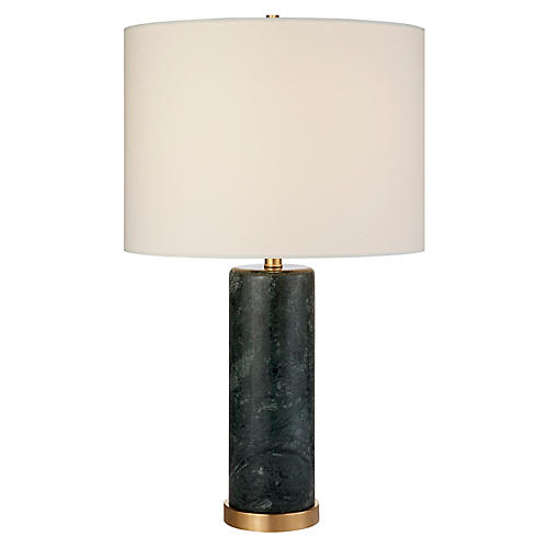 Cliff Table Lamp, Green Marble