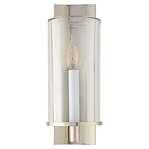Deauville Single Sconce, Polished Nickel/Clear