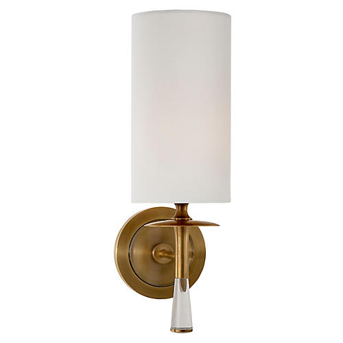 Drunmore Single Sconce, Brass/Clear/Off-White