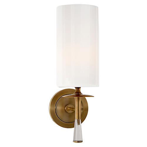 Drunmore Single Sconce, Brass/Clear/White
