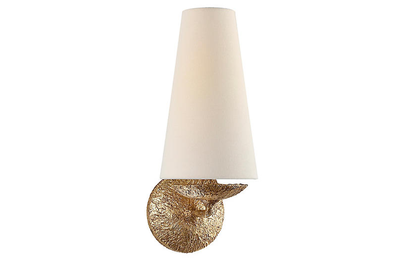 Fontaine Single Sconce, Gilded Plaster