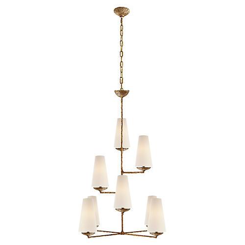 Fontaine Vertical Pendant, Gilded Plaster