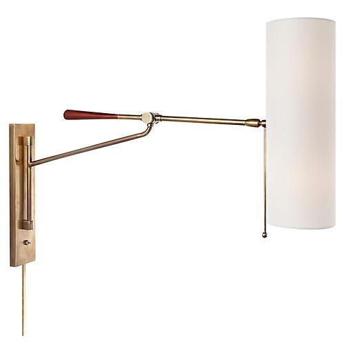 Frankfort Articulating Wall Sconce, Brass/Mahogany