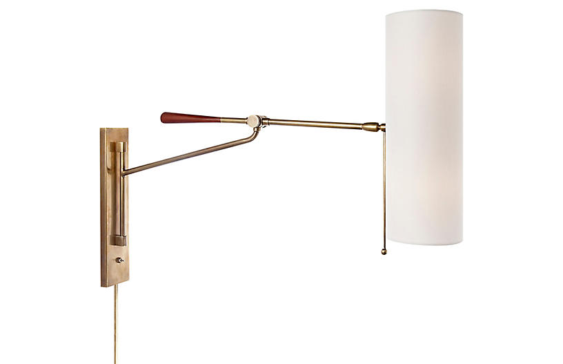 Frankfort Articulating Wall Sconce, Brass/Mahogany