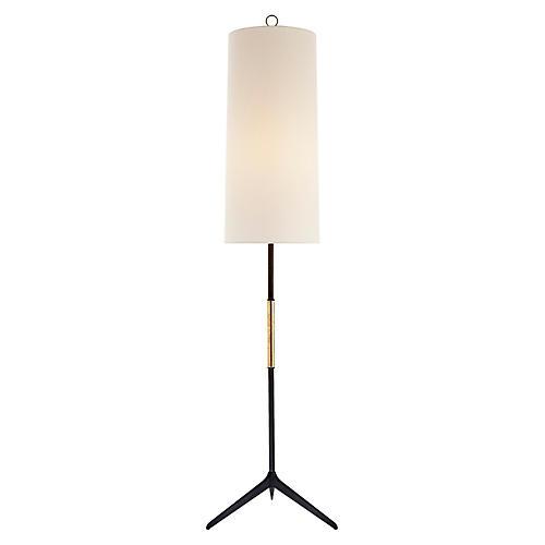 Frankfort Floor Lamp, Aged Iron/Gilded