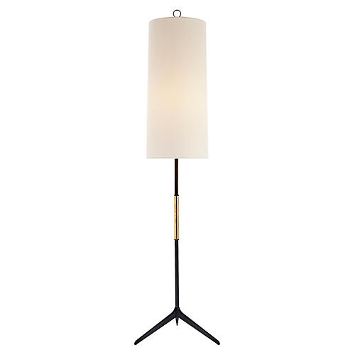 Frankfort Floor Lamp, Aged Iron/Gilded