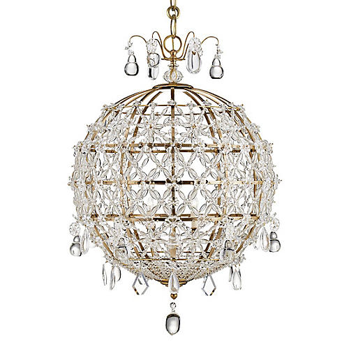 Heather Chandelier, Antiqued Brass/Clear