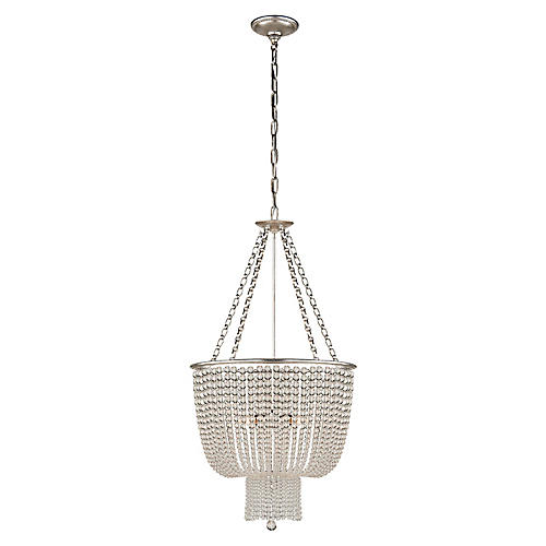 Jacqueline Chandelier, Silver Leaf/Clear