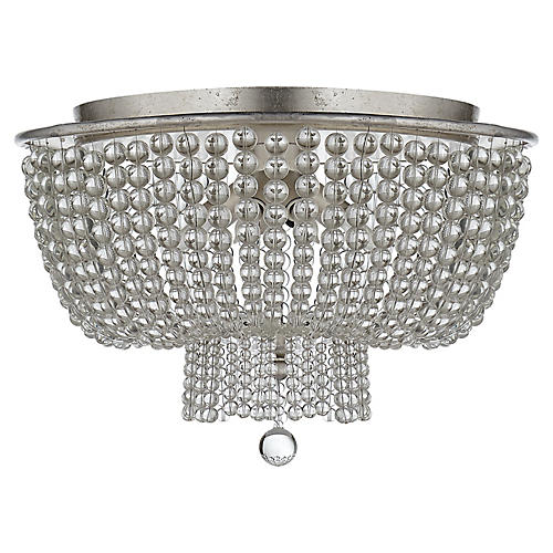 Jacqueline Flush Mount, Silver Leaf/Clear