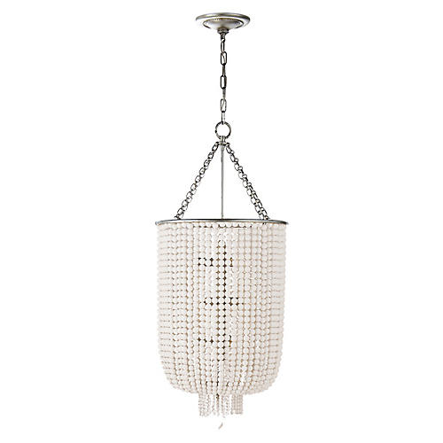 Jacqueline Long Chandelier, Silver Leaf/White