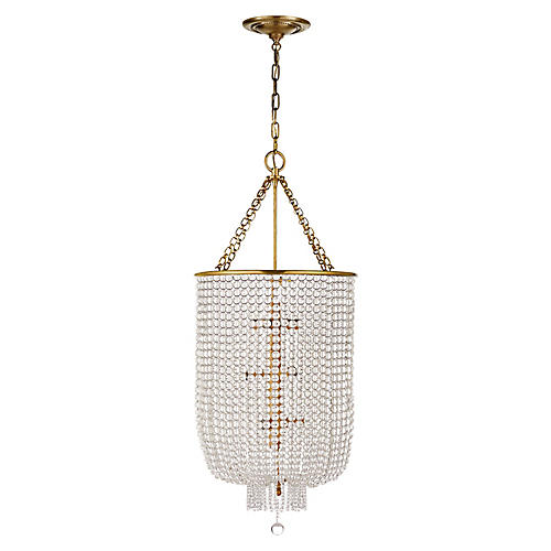 Jacqueline Long Chandelier, Antiqued Brass/Clear