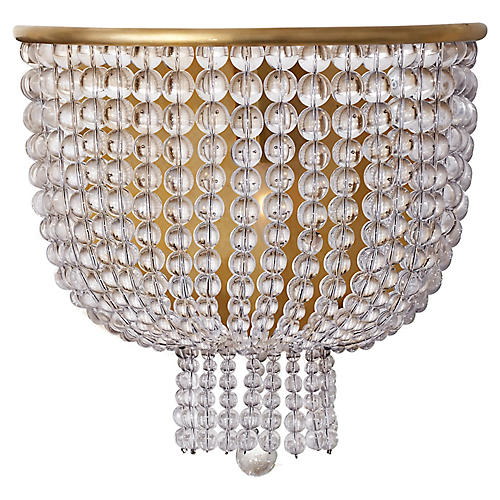 Jacqueline Medium Sconce, Antiqued Brass/Clear