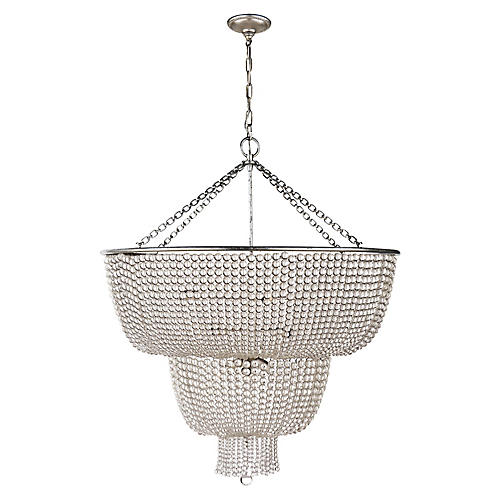 Jacqueline Two-Tier Chandelier, Silver Leaf/Clear
