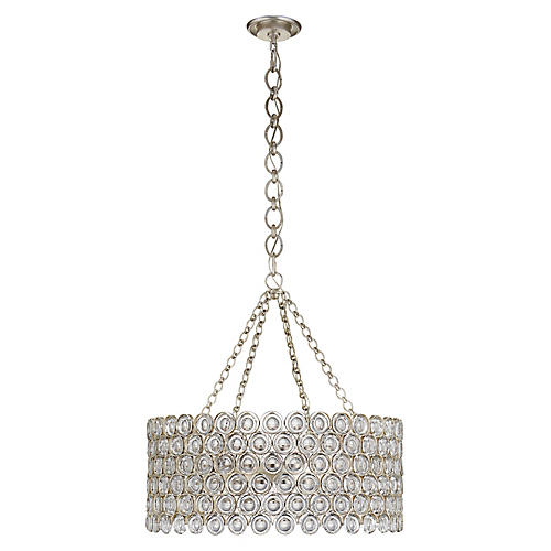 Lesina Chandelier, Silver Leaf/Clear