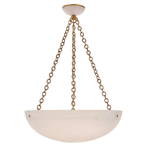 O'Connor Large Pendant, Alabaster/Brass